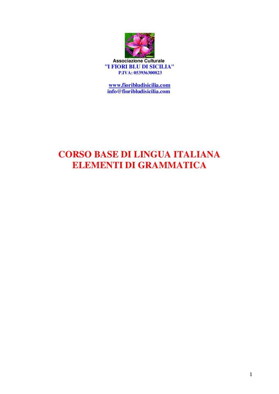 """Corso di base di lingua italiana. Associazione culturale """"I fiori blu di Sicilia"""""""