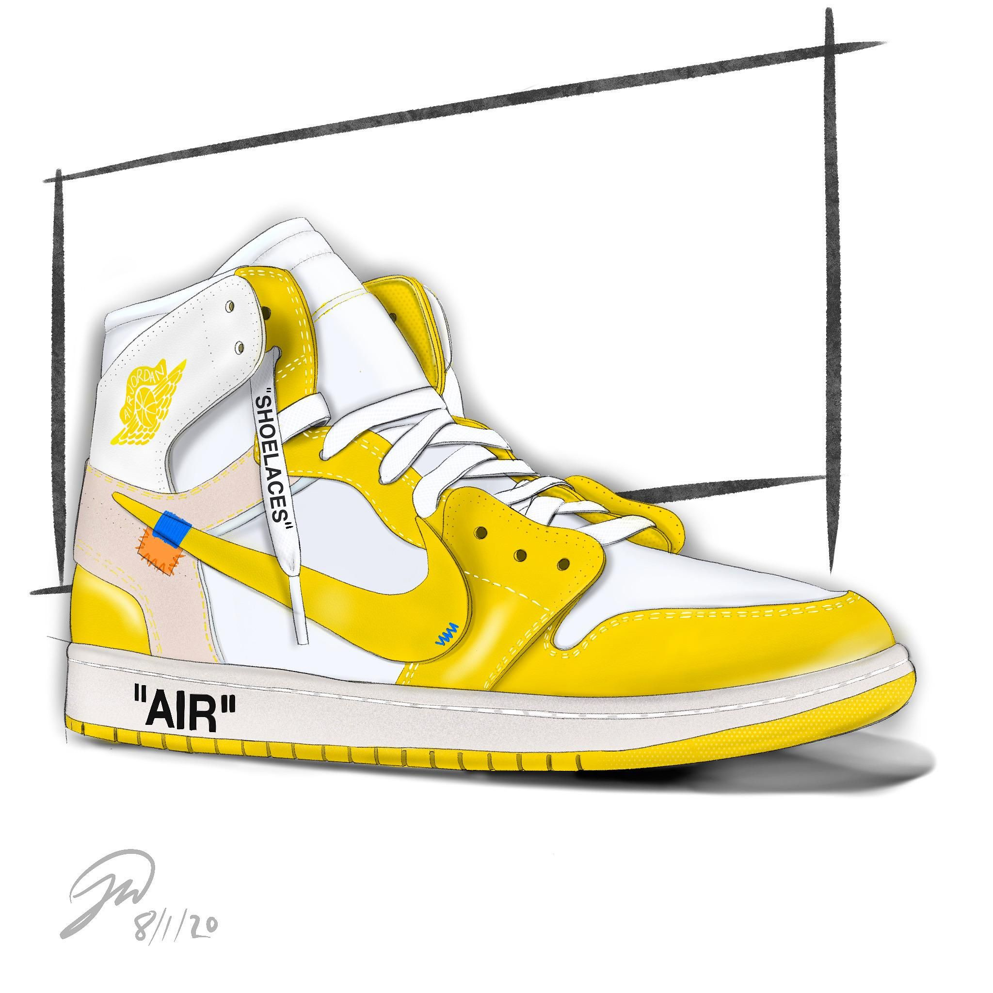 My Sketch Of The Off White X Nike Air Jordan 1 Canary Yellow I