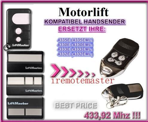Motorlift 4335e 4335eml 4330e 4330eml 4333e 4333eml 4332e Eml Replacement Remote Control Liftmaster Building Automation Access Control
