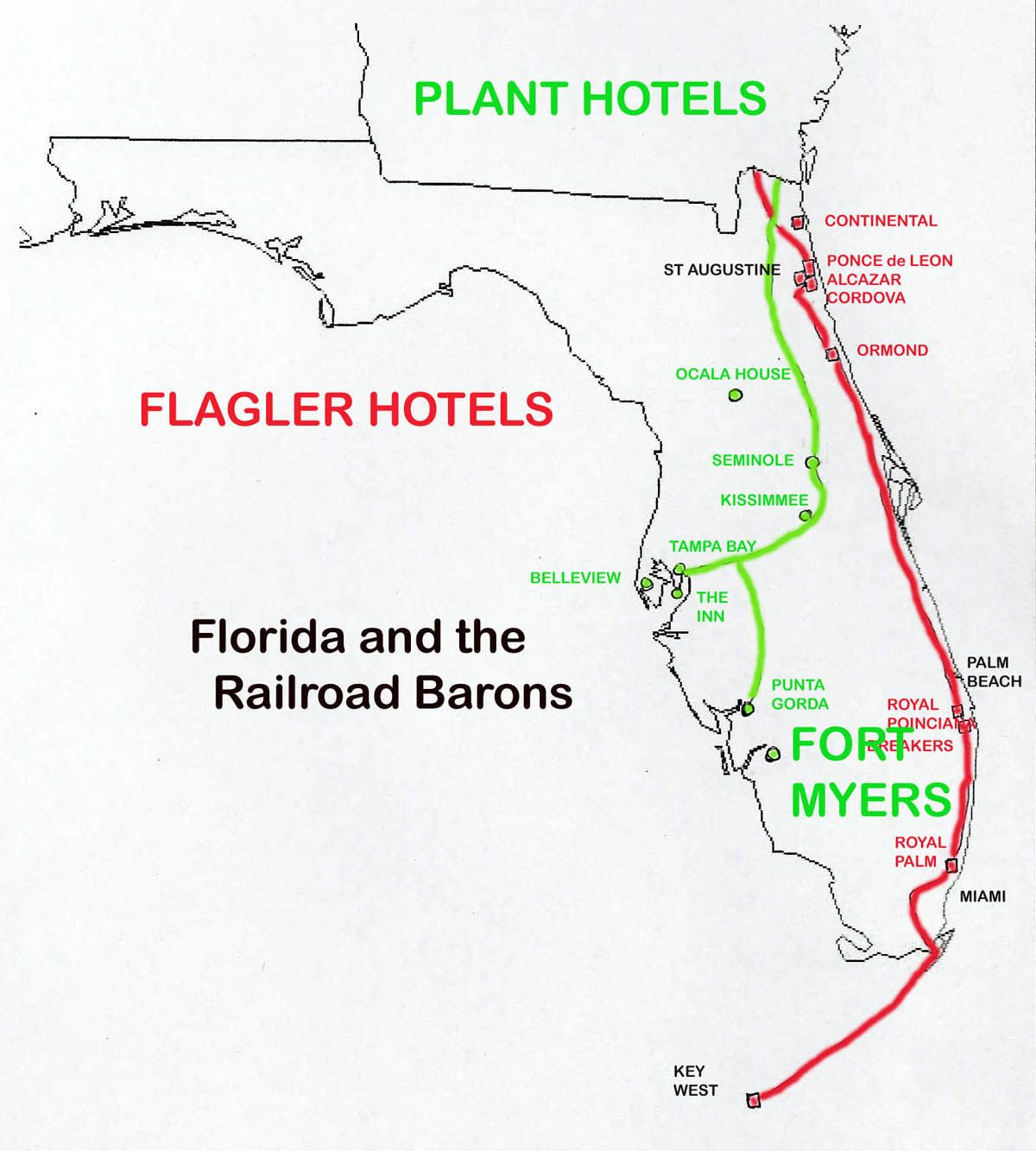 Florida Railroad Map.Florida Railroads In 1880 1900 Railway Maps Pinterest Florida