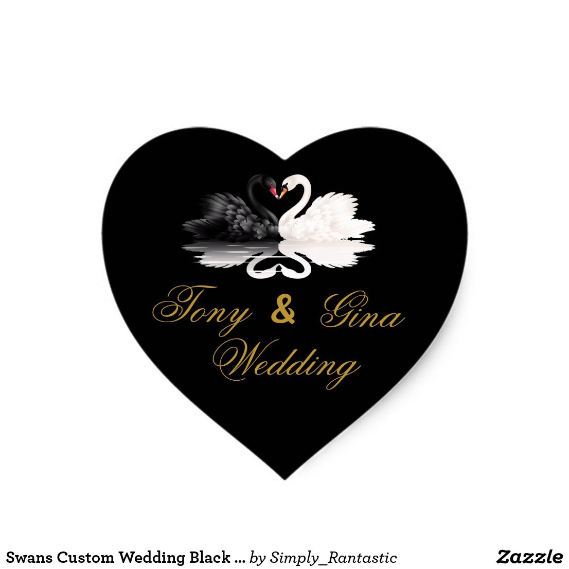 Swans custom wedding black heart stickers wedding collection