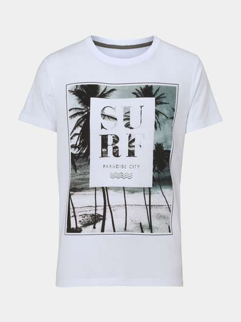 White Surf Print T-Shirt - Mens T-Shirts & Vests - Clothing