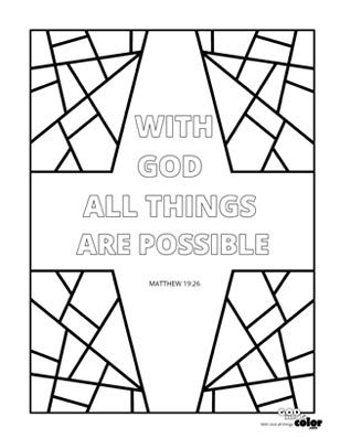 15++ With god all things are possible coloring page free download