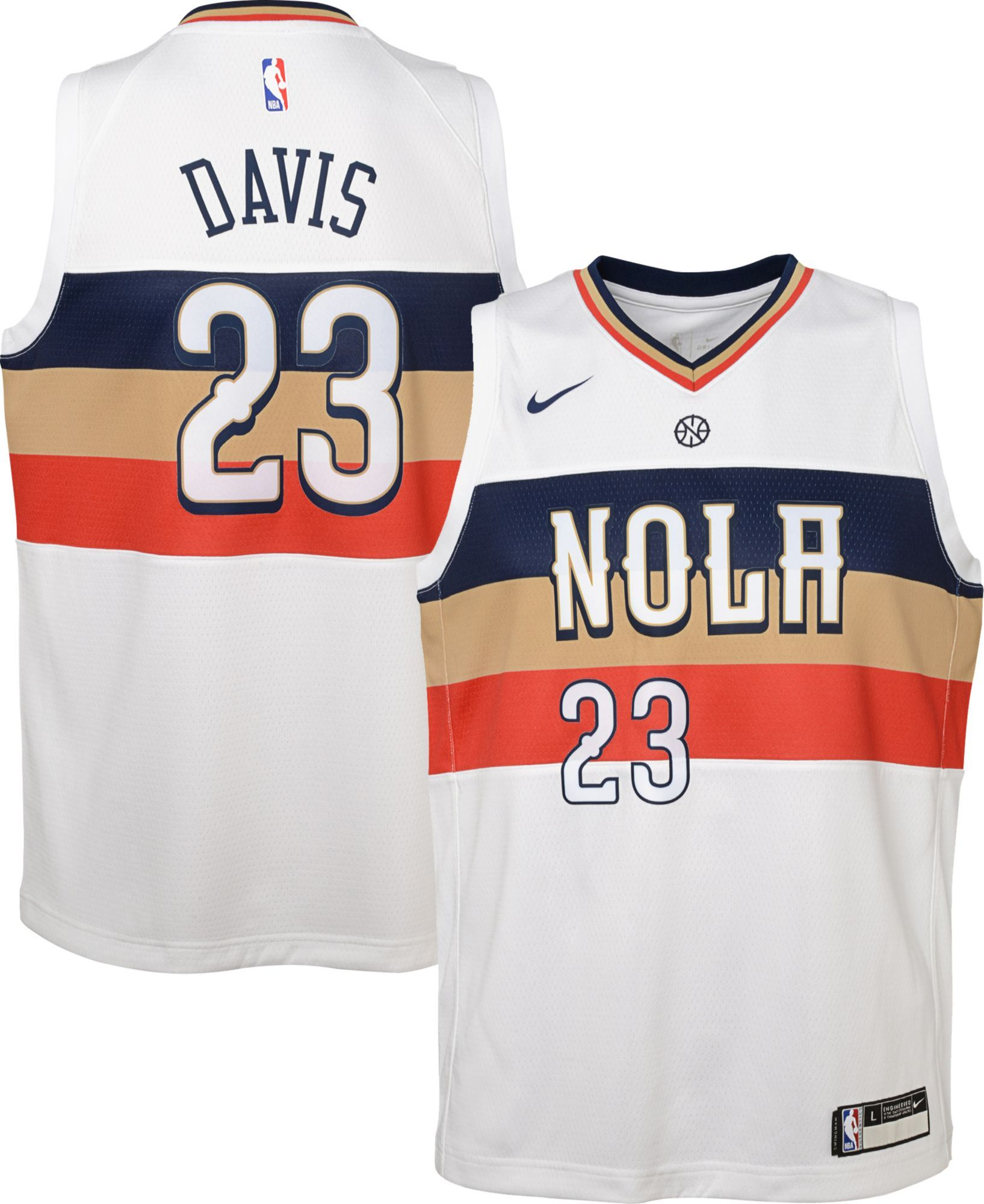 960ef54cd60 Nike Youth New Orleans Pelicans Anthony Davis Dri-FIT Earned Edition  Swingman Jersey, White