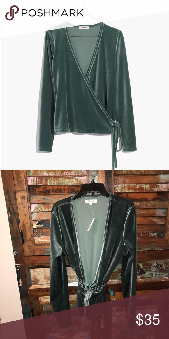 NWT Madewell Velvet Wrap Ballet Top Green NWT Size medium Madewell Tops