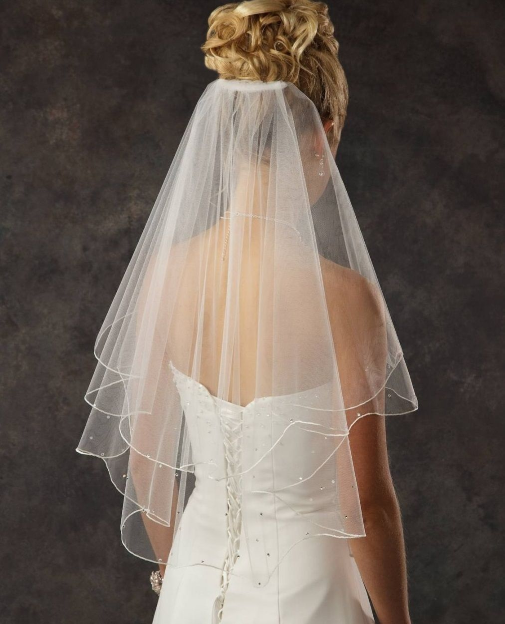 Wedding Hairstyle Updo Veil: Two Layer Elbow Length Bridal Veil With Rhinestones