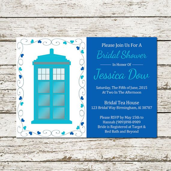 Doctor Who Bridal Shower Invitation Wedding Party Printable Download Dr  Tardis Whovian Geek Nerd Sci Fi Announcement Diy