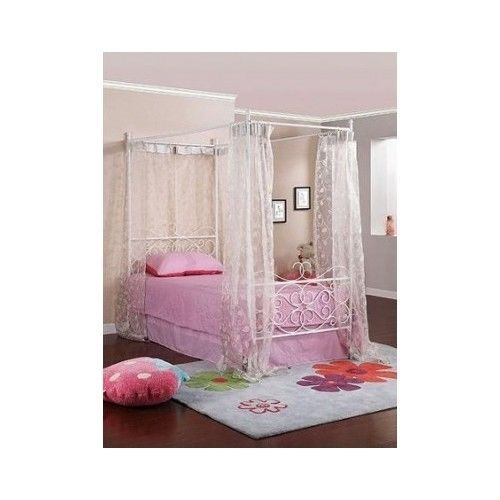 Twin White Girls Metal Wrought Iron Bed Beds Canopy Bedroom Furniture Princess Twin Canopy Bed Twin Canopy Bed Frame Canopy Bed Frame
