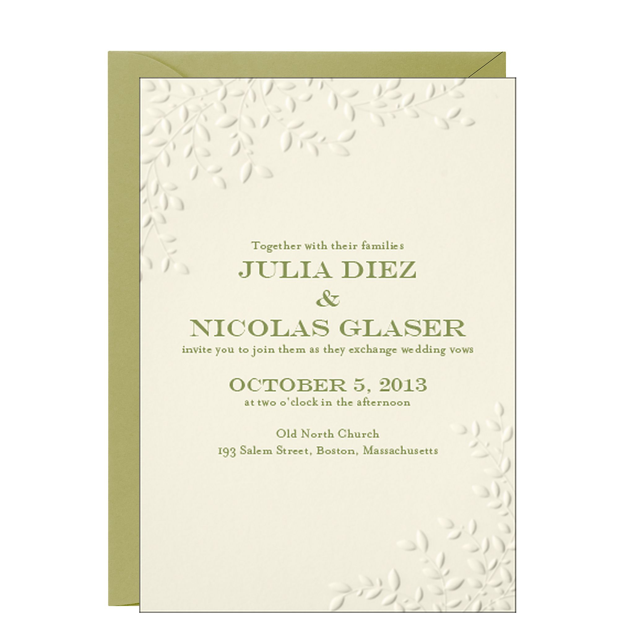 Leaves Wedding Invitation - Julia & Nicholas Paper Source Stationery