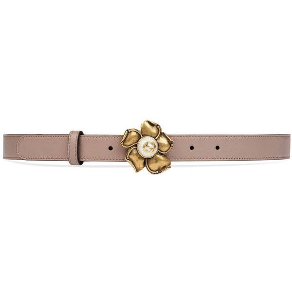 87f52d44b28 Gucci Leather Belt With Metal Flower ( 420) ❤ liked on Polyvore featuring  accessories