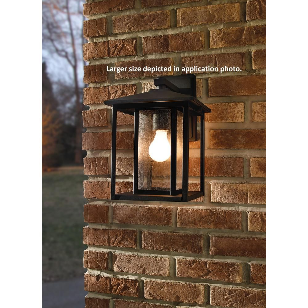 Sea Gull Lighting Fairmont 1 Light Black Outdoor Wall Mount Lantern With Clear Seeded Glass 8534 Sea Gull Lighting Black Outdoor Wall Lights Wall Mount Lantern