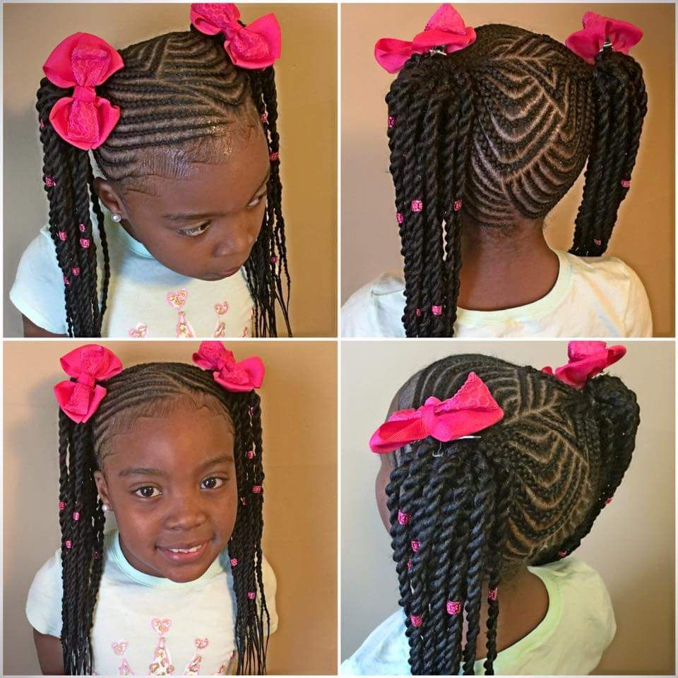 Twisted Cornrow Pigtails Natural Hair Style Braids In