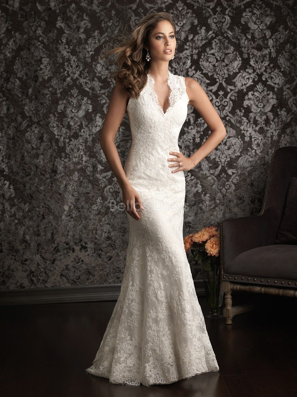 Illusion Back V Neck Sheath/ Column Lace Court Train Wedding Dress ...