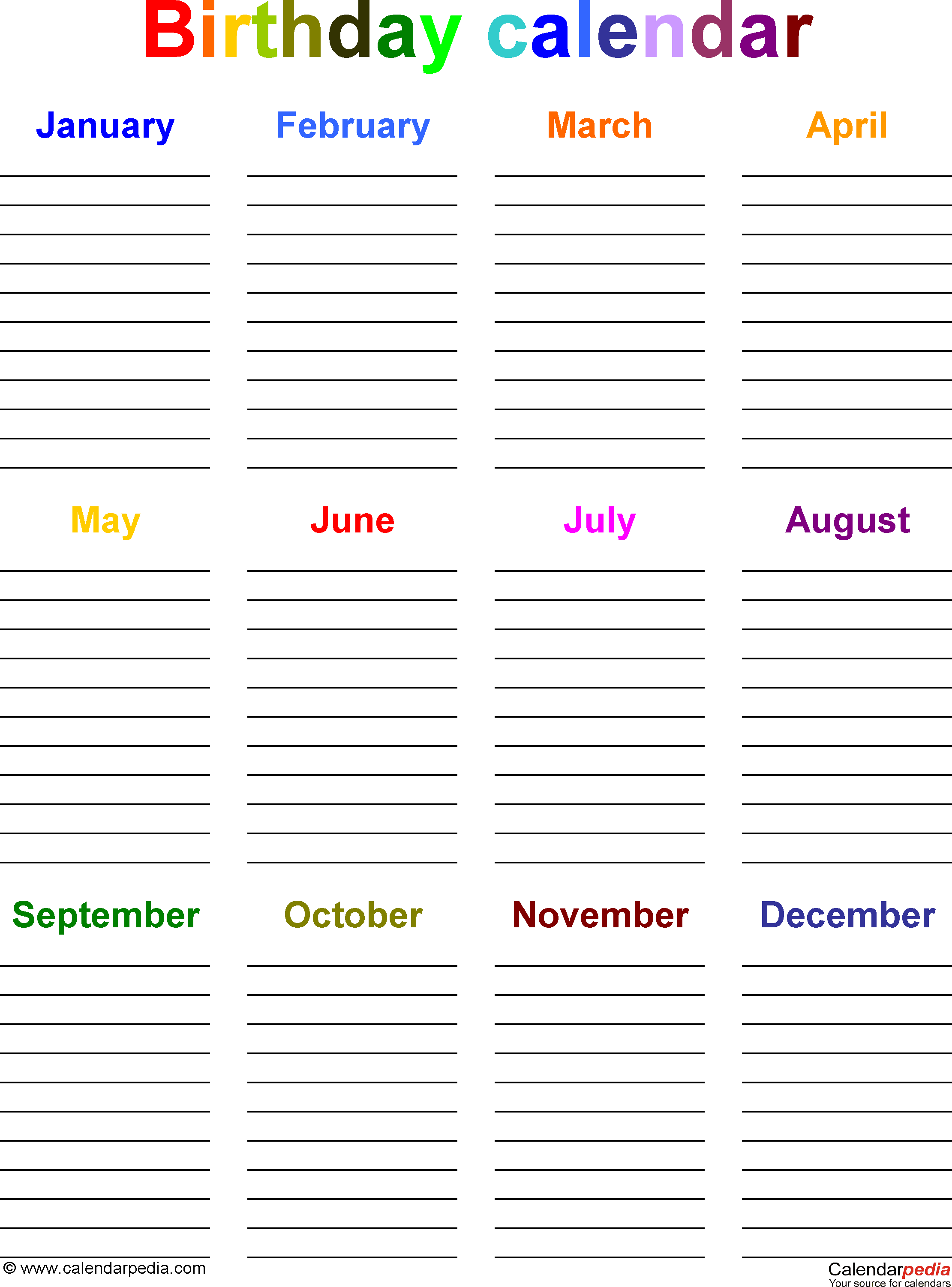 Birthday List Template Free Template 5 Pdf Template For Birthday Calendar In Color Portrait .