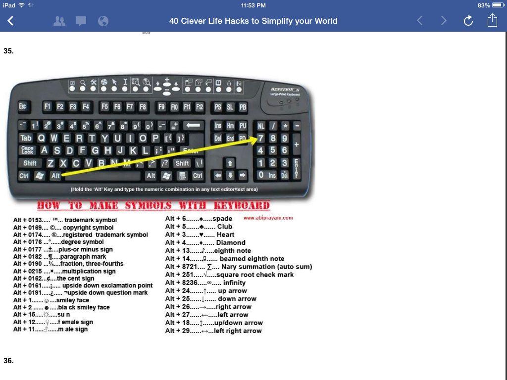 Cool keyboard symbols tips tricks pinterest keyboard symbols cool keyboard symbols buycottarizona Images