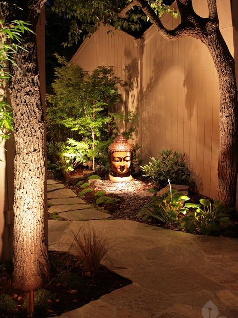 Get that zen ambiance with #LED landscape lights. ...) as well as by shining light up (up lighting).You also need to not only think about the light that is thrown by your fixtures but the shadow and sil...r things you want to highlight.Low voltage and solar lighting can be easily installed by the average homeowner in most cases. You can run the low volt #gallery.lightingpros.club #lighting-design-landscaping #lighting