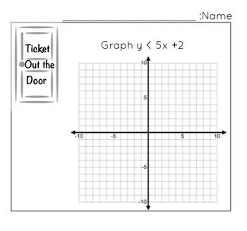 GRAPHING TWO VARIABLE INEQUALITIES - TICKET OUT THE DOOR - TeachersPayTeachers.com