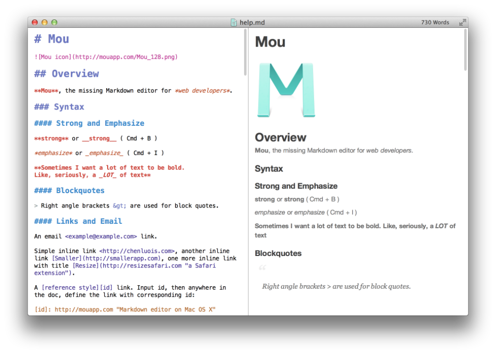 25.io Mou Markdown editor for developers, on Mac OS X