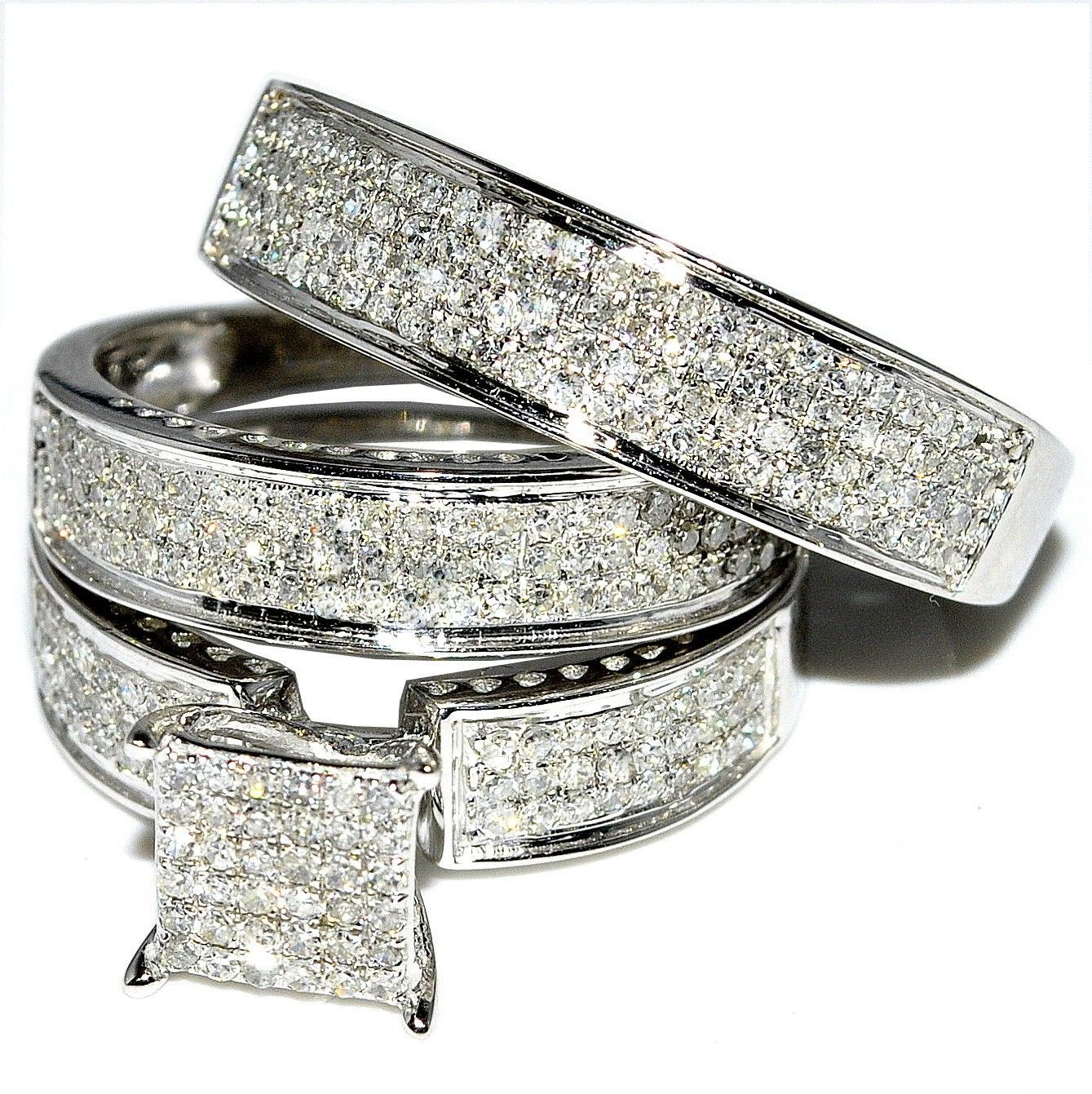 His And Her Trio Wedding Rings Set 1ct W Diamonds 10k White Gold