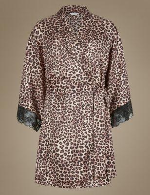 Animal Print Satin Wrap Dressing Gown | Intimates Women Robes ...