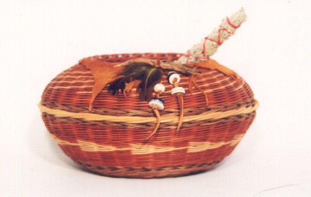 Medicine basket with sage bundle. By Molly Gardner.