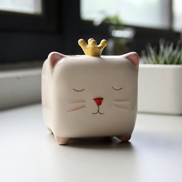 Ceramic Square Money Box 1pc Zakka Cute Creative Small Animal Bear Sheep Elephant Cat Piggy Bank Jpg 640x640 Jpg 640 640 Clay Box Piggy Bank Cat Piggy Bank