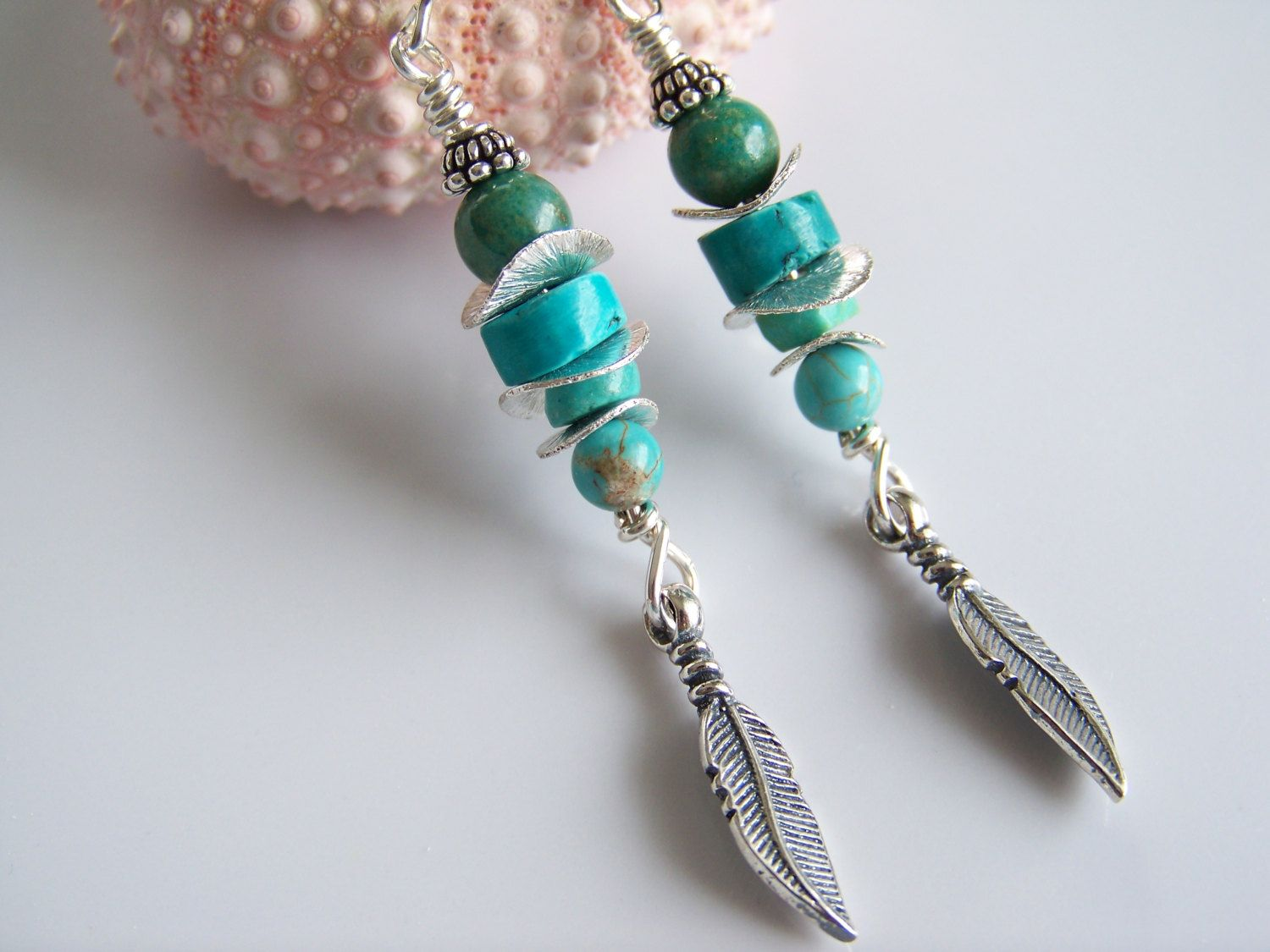Turquoise Gemstone and Silver Feather Boho Earrings - Item E1949 by Joannsfortheluvofit on Etsy