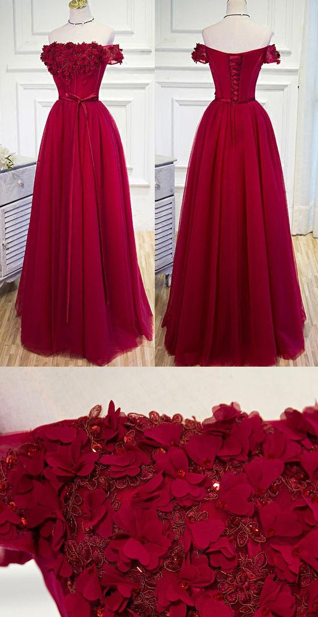Outlet applique burgundy prom evening dresses feminine long offthe