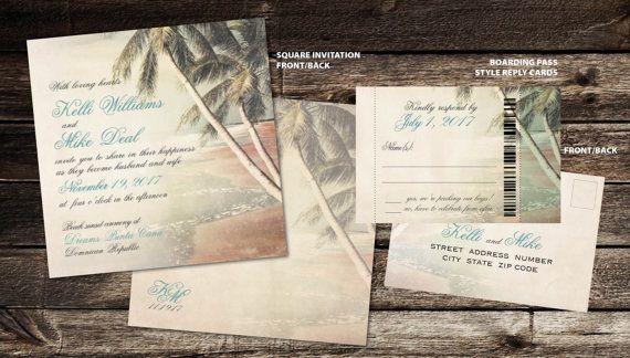 Printable Digital Destination Square Wedding Invitations Palm