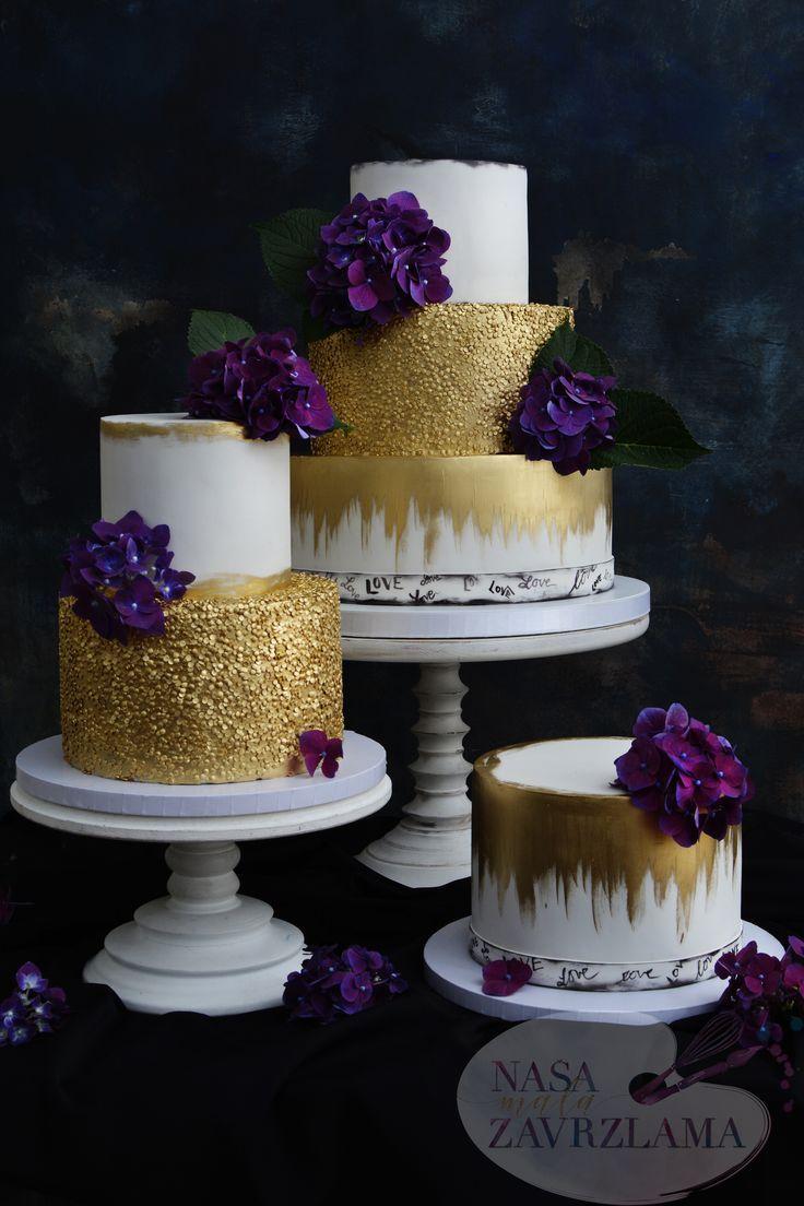 Gold And Purple Wedding Cake Goldenweddingcake Goldandpurplecake