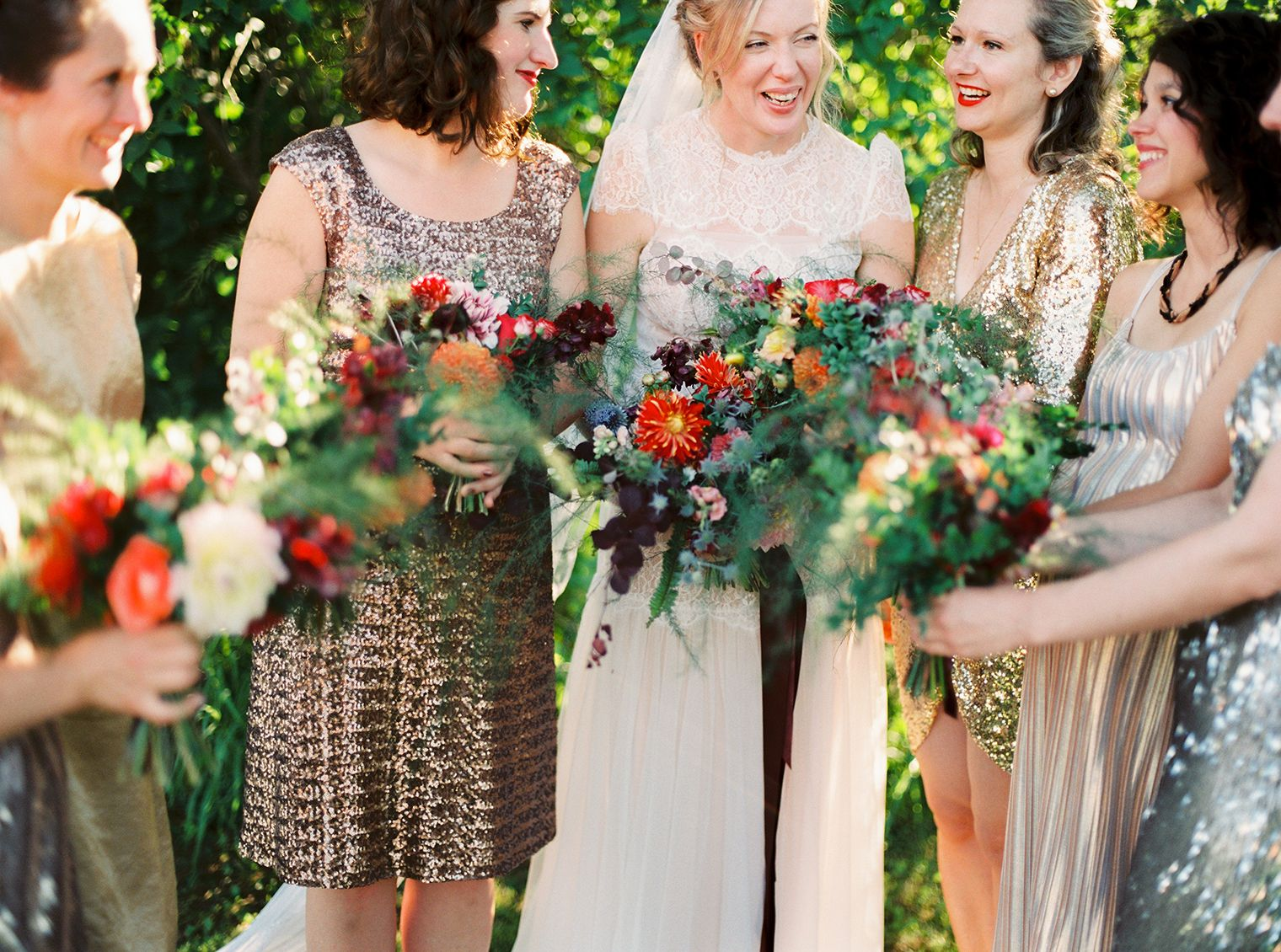 Beautiful wedding bouquets with spring flowers love the boho floral