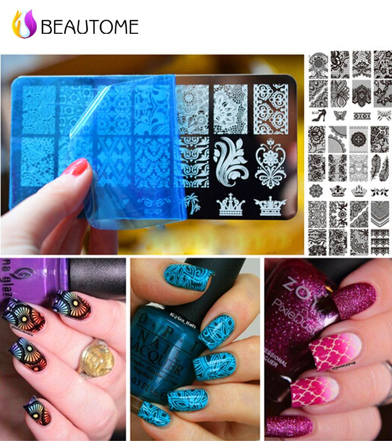 1pcs Latest Nail Template Cooi Series Nail Art Plate Stainless Steel ...
