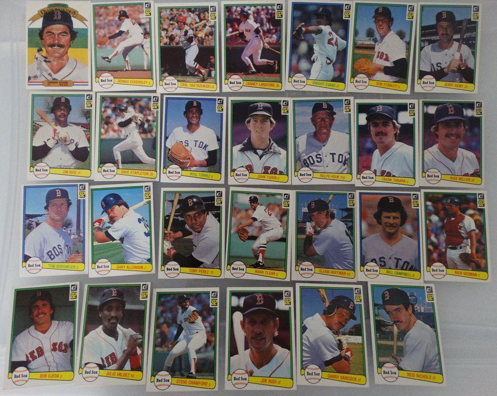 1982 donruss boston red sox team set of 27 baseball cards