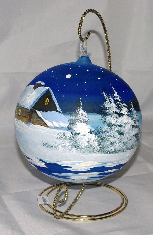 Hand Painted Ornaments Painted Christmas Ornaments Blue