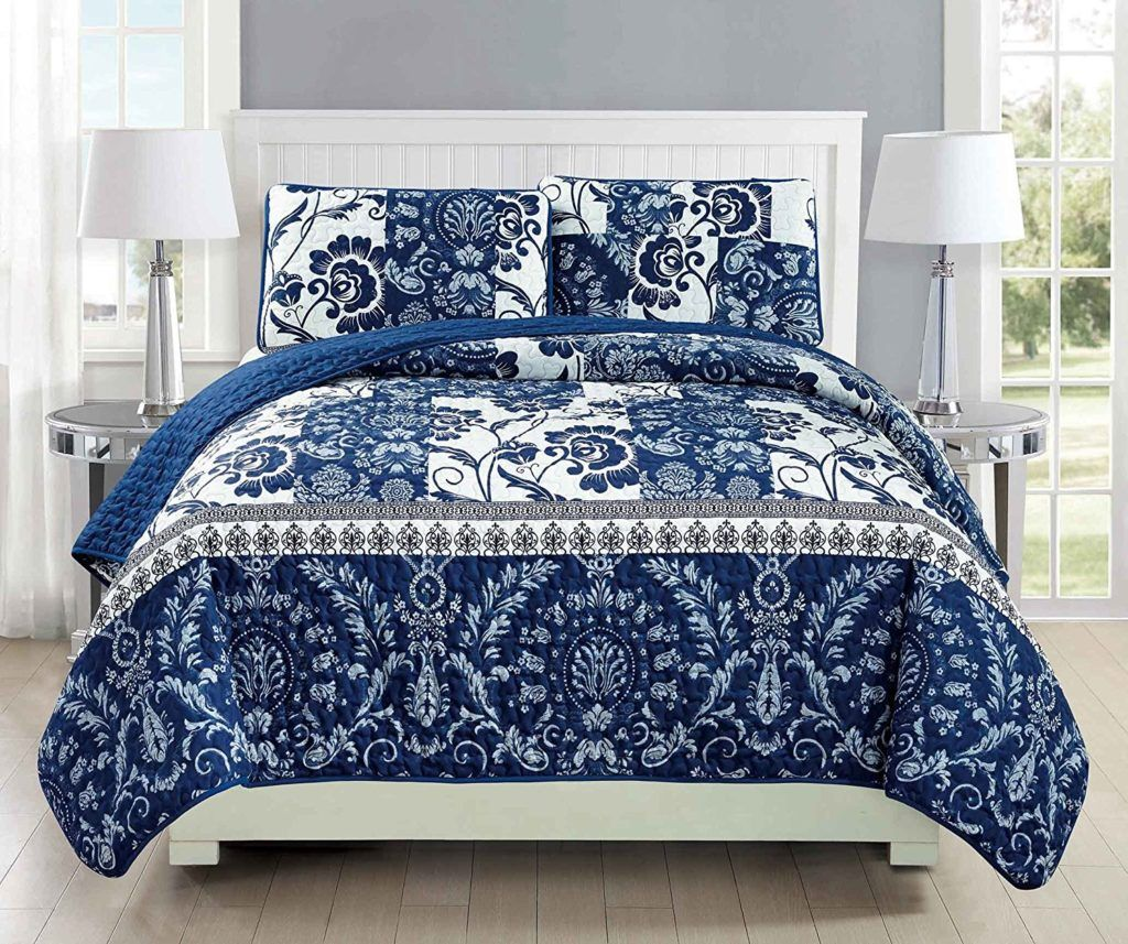 Mk Collection 3pc Bedspread coverlet quilted Floral White Navy ... : navy blue and white quilt - Adamdwight.com