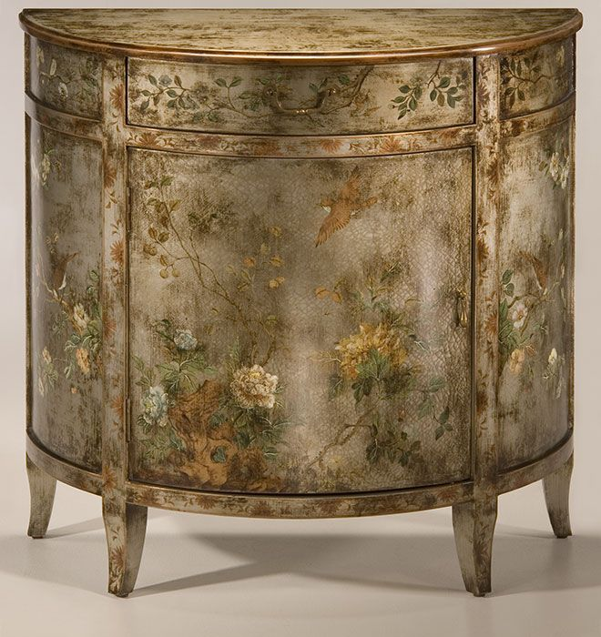 hand-painted furniture | antiqued hand-painted cabinet with floral and bird  design on - Hand-painted Furniture Antiqued Hand-painted Cabinet With Floral