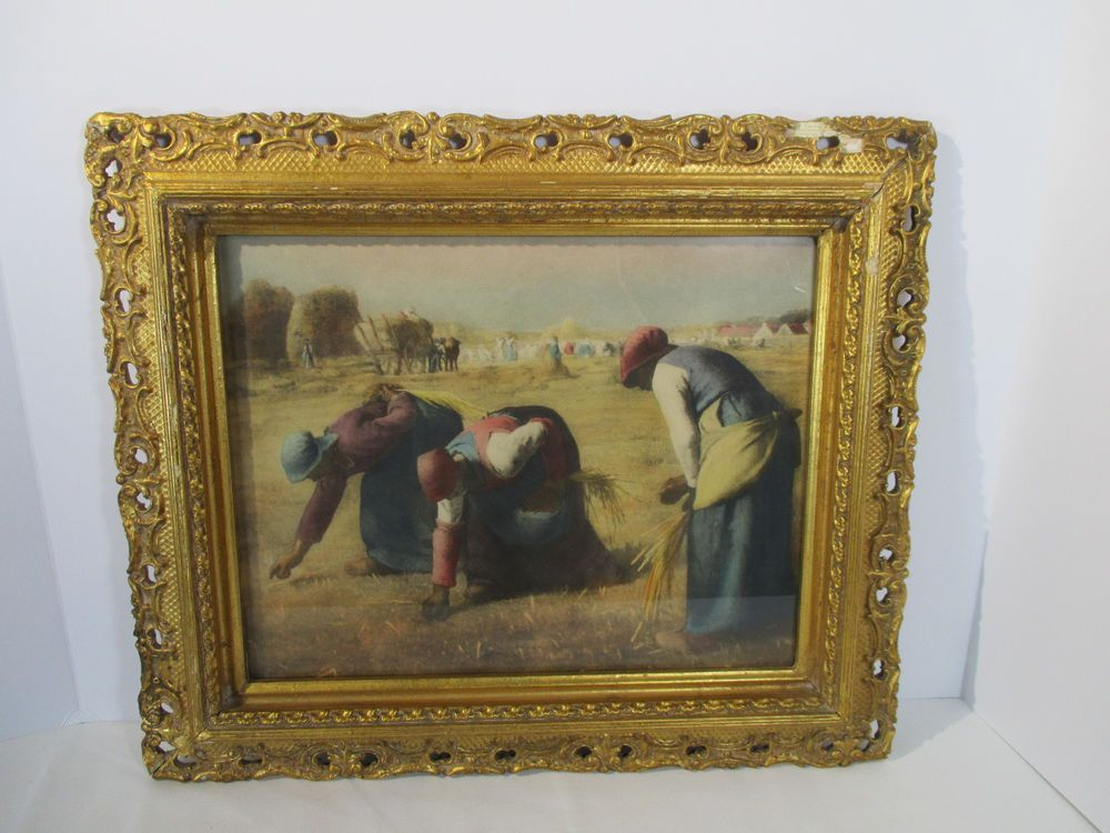 Picture Frame Ornate Antique Vintage Wood With Plaster Gold