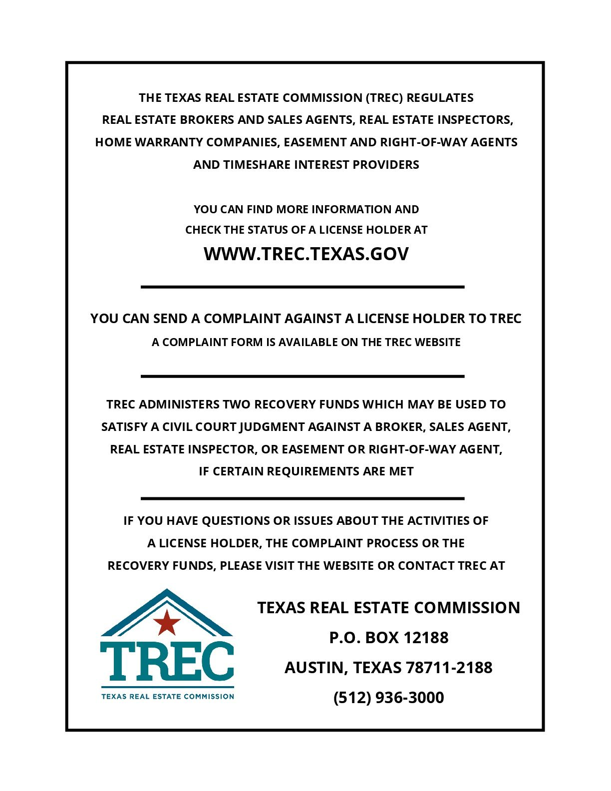 Texas Law Requires All Real Estate License Holders To Give The Following Information On Texas Real Estate Consumer Protection Home Warranty Companies