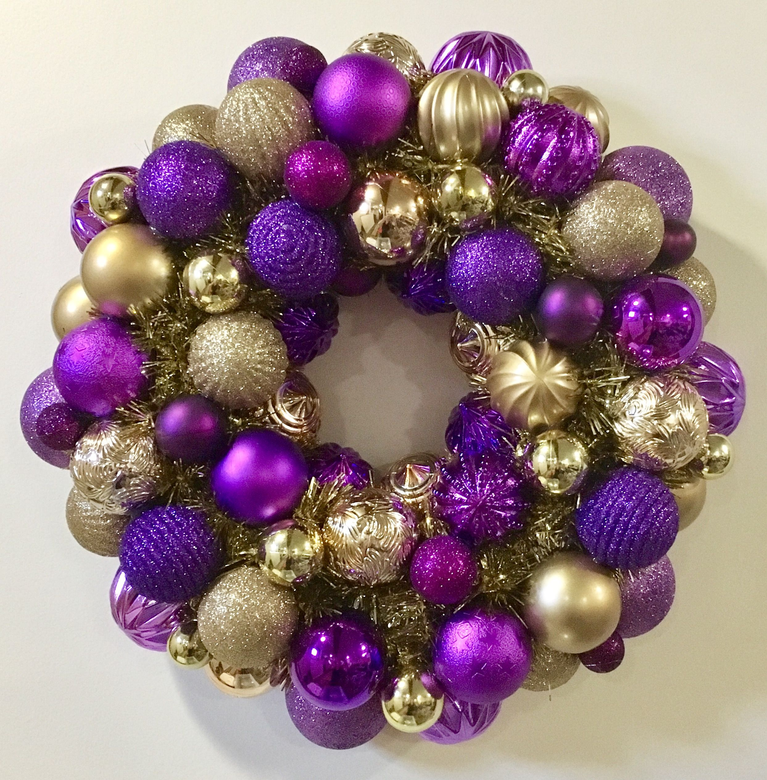 Purple Gold Holiday Ornament Wreath Champion High School Wreath Ornament Wreath Gold Ornament Wreath Wreaths