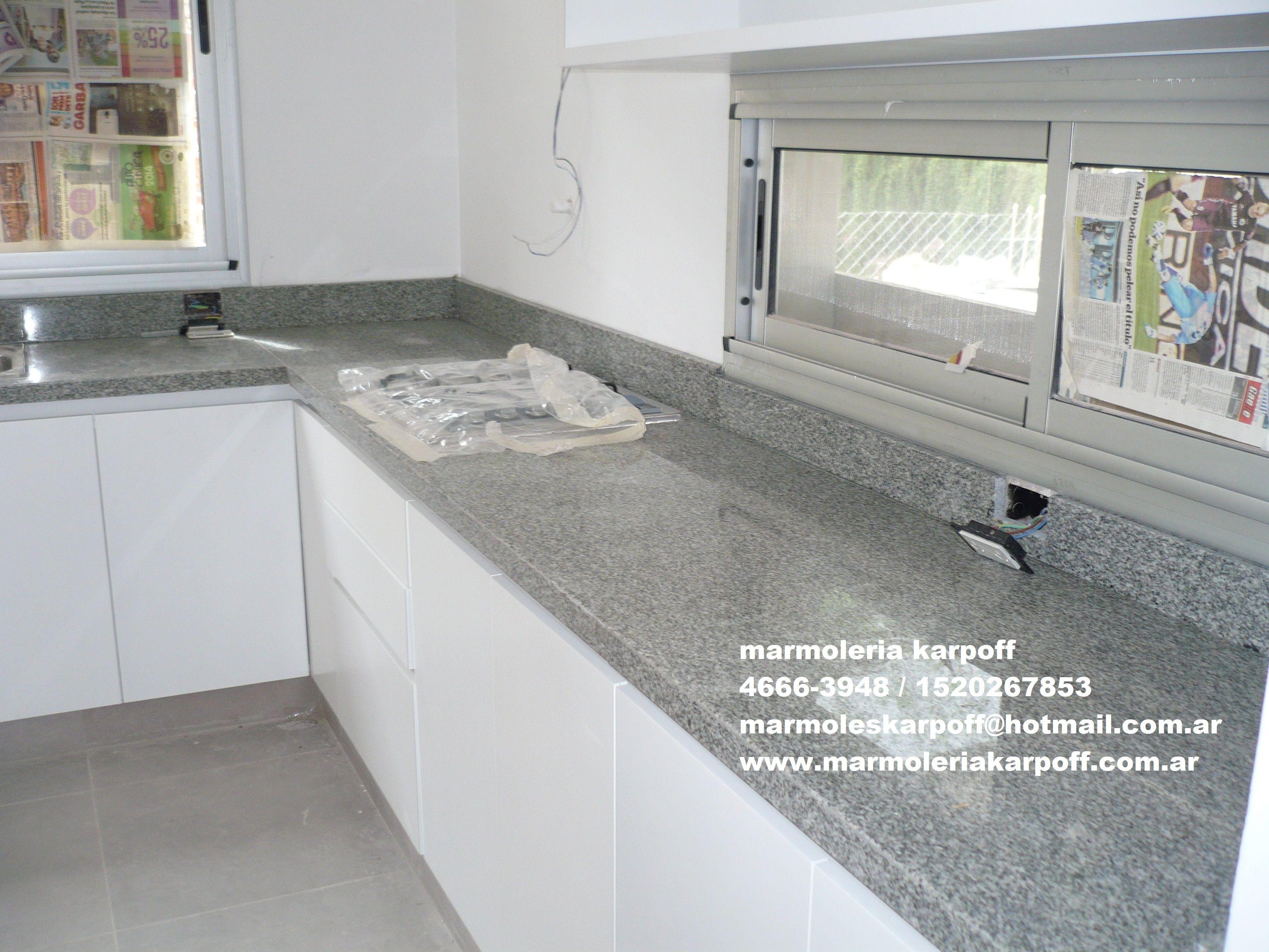 Mesada en granito gris mara marmoler a karpoff for Encimera cocina marmol o granito