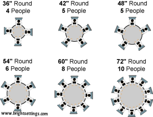 36 Round Table Seats 4 People 42 5 48