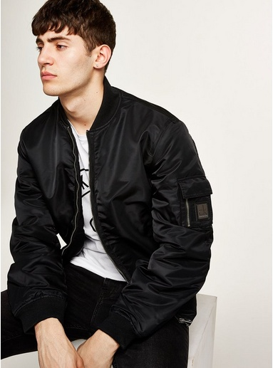 f3bd1d40b CALVIN KLEIN Black Padded Bomber Jacket in 2019 | Products | Bomber ...