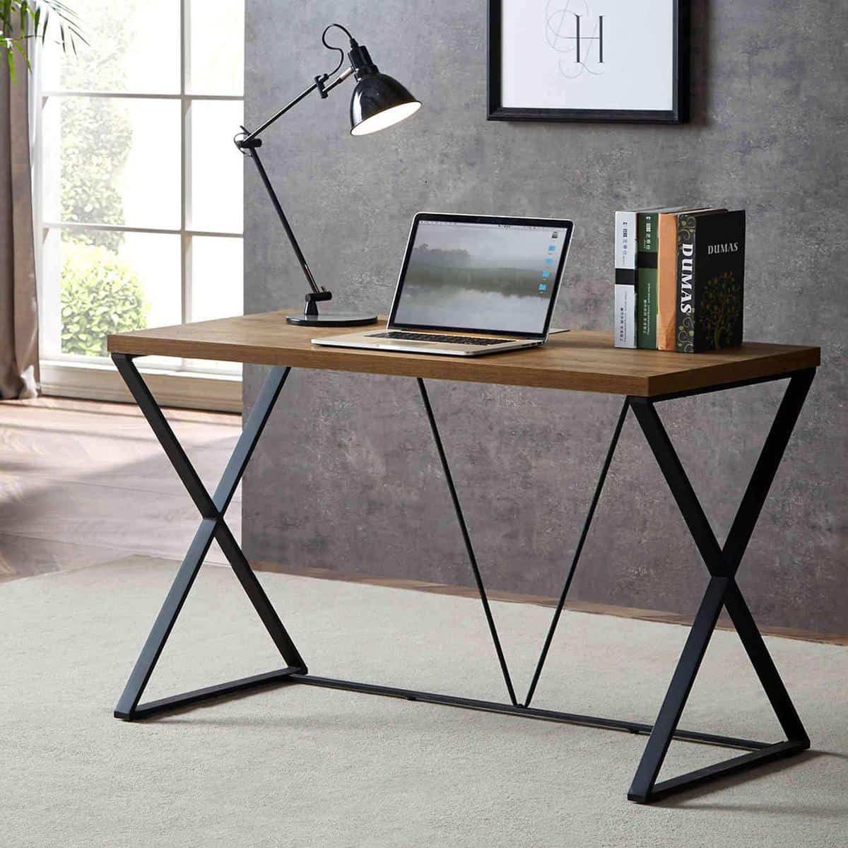 The Industrial Themed Computer Desk With A Glance Of A Rustic Element Writingdesk Rustic Computer Desk Wood And Metal Desk Wood Furniture Design