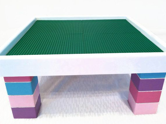 Kids Activity Table Lego Furniture Building Block Table Kids Playroom Nursery Room Purple Pink Blue Small Table Non Toxic