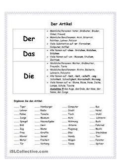 Artikel | Pinterest | Arbeitsblätter, Deutsch und Schreiben