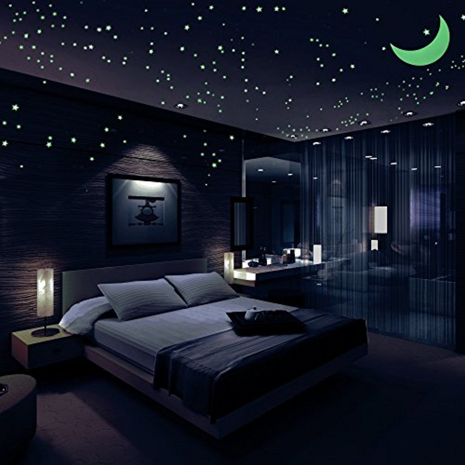 Glow In The Dark Stars Decals Stickers Pack Of 446 408 Stars 1 Moon 36 Meteor Tail And 1 Constellati Modern Bedroom Decor Modern Bedroom Design Modern Bedroom