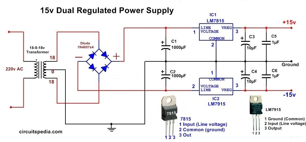 Dual Power Dc Supply 15v Power Supply Circuit Circuit Diagram Circuit