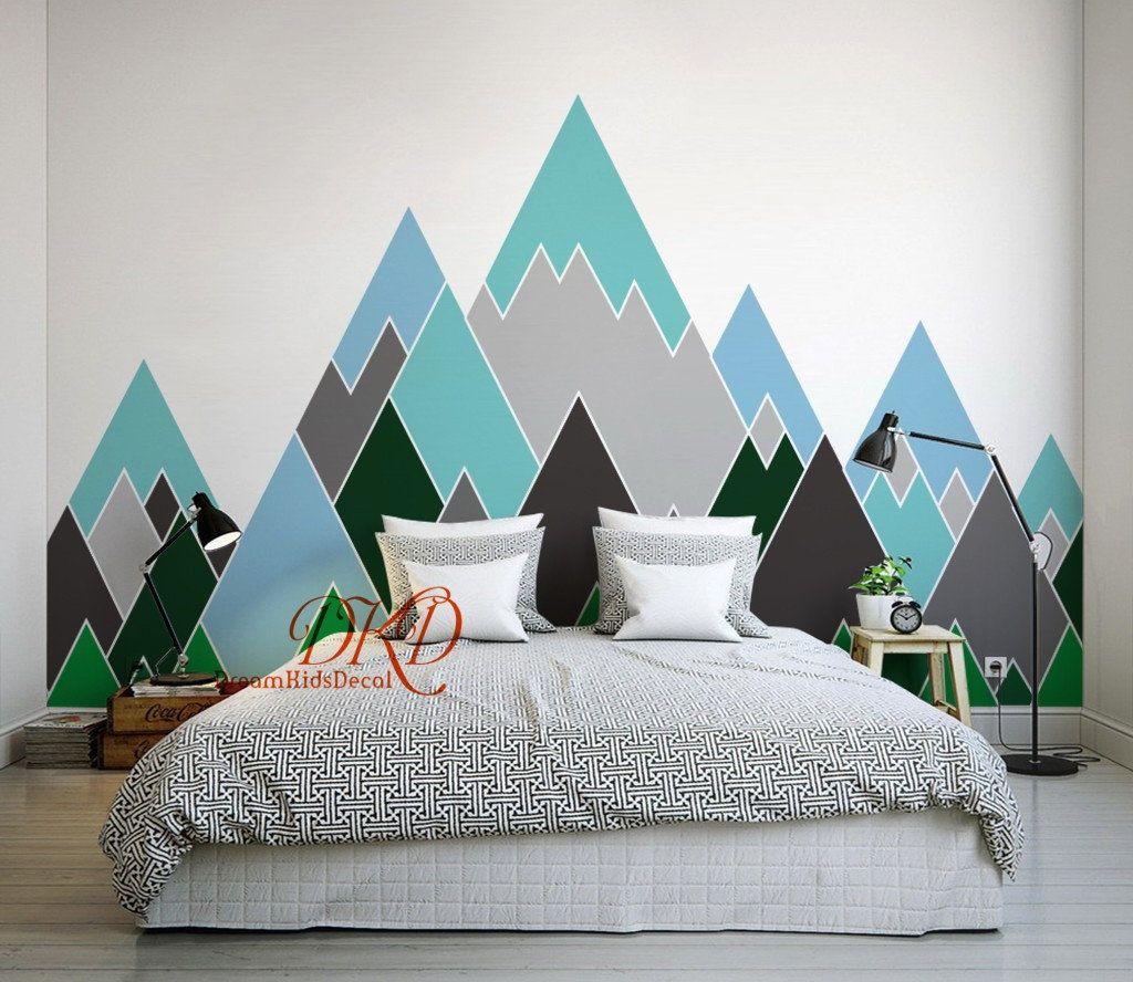Mountain Wall Decal Mountain Decal Mountain Wall Art Geometric