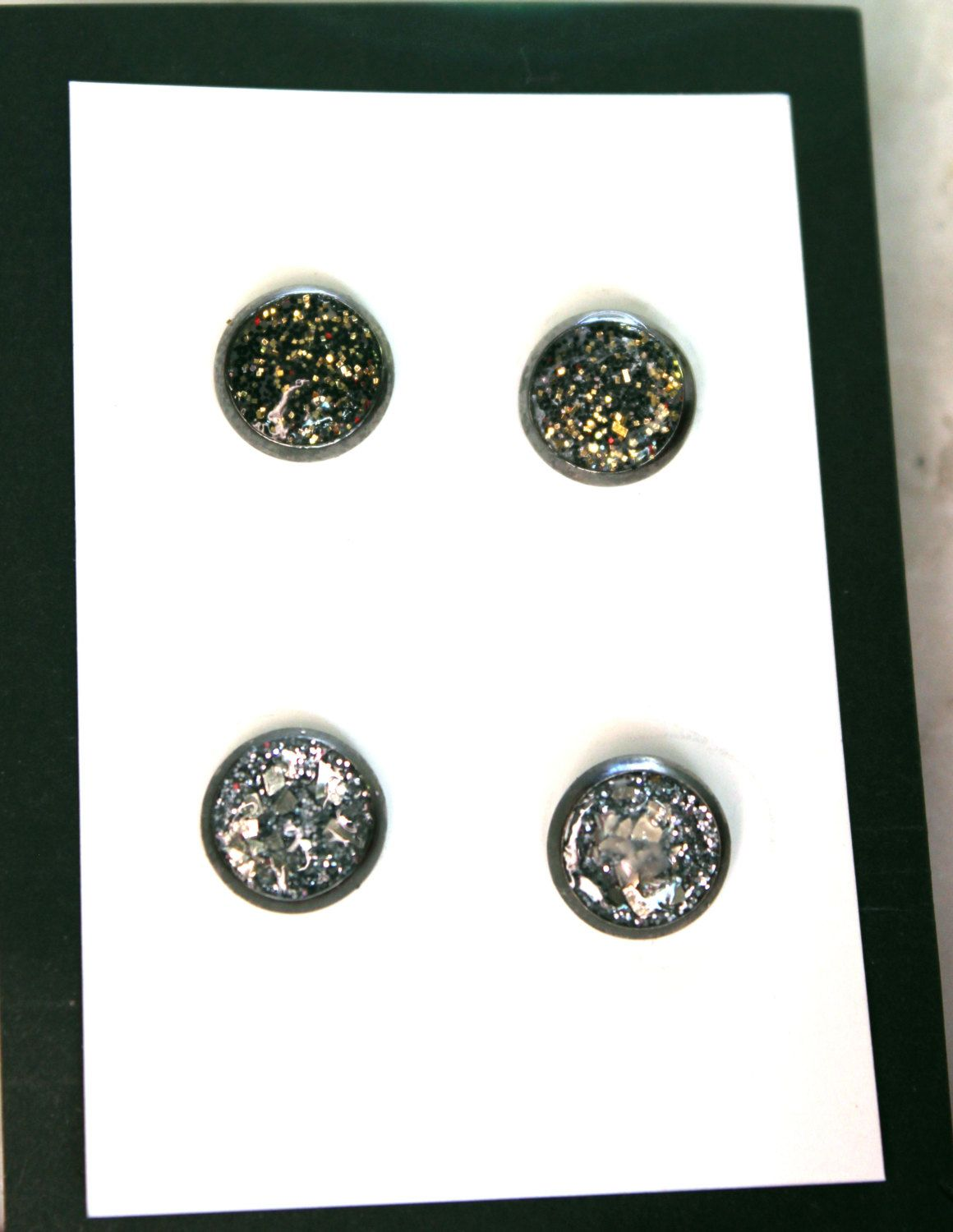 p studs sparkle dot earrings smokey sparkly stella stud