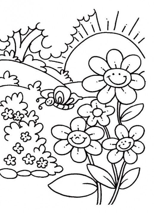 Color Pages For Kids Nature Cartoon Animals And Food In 2020 Spring Coloring Pages Flower Coloring Pages Flower Coloring Sheets